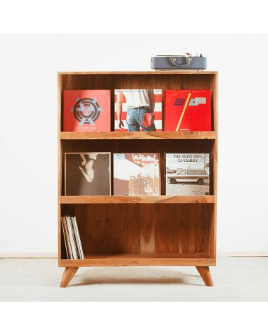 bibliothèque vinyles scandinave